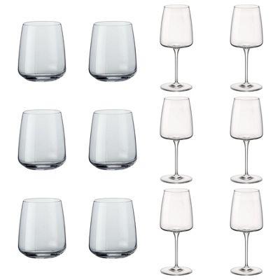 Bormioli Rocco Planeo Clear Glass Drinking Tumblers & 380ml Wine Glasses - Set of 12