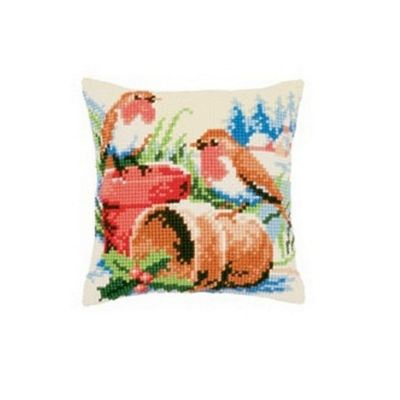 Vervaco Robins Cross Stitch Cushion