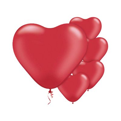 Ruby Red Pearl Heart 6 inch Latex Balloons - 100 Pack