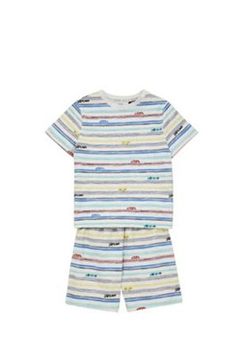 F&F Striped Car Print Pyjamas Grey/Multi 6-7 years