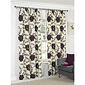 Hamilton McBride Floral Lined Pencil Pleat Curtains - Plum