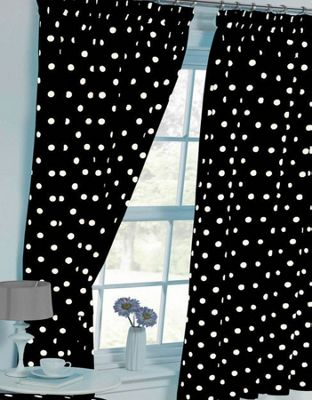 Polka Dot Curtains 72s - Black