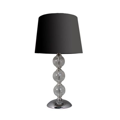 Clear Cracked Glass 3 ball Table Lamp Black Shade