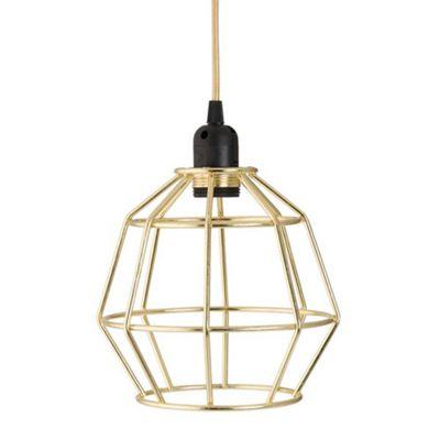 Bahne Gold Geometric Cage Pendant Ceiling Hanging Light Ø 20 x 27.5 cm