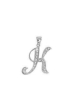 Jewelco London 9 Carat White Gold Elegant Diamond-Set Script Style Initial Pendant - Initial K