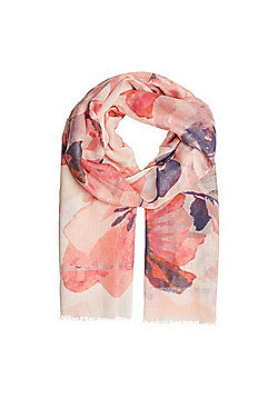 F&F Oversized Floral Print Scarf - Pink