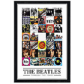 Black Wooden Framed The Beatles Album Covers Through the Years Poster