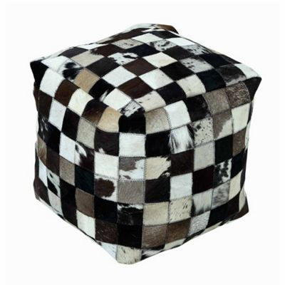 Homescapes Genuine Leather Brown Check Design Bean Filled Pouffe