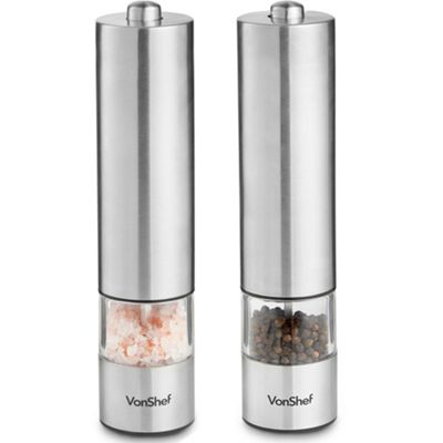 VonShef 2pc Electric Salt & Pepper Mill Grinder Set
