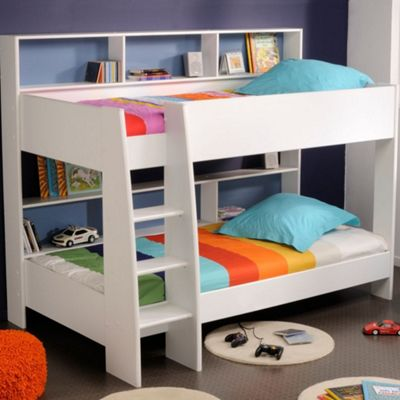 Happy Beds Tam Tam Wood Kids Storage Bunk Bed with 2 Open Coil Spring Mattresses - White - EU Single