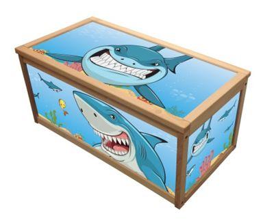 Wooden Toy Box Chest Box for Kids Children - Shark