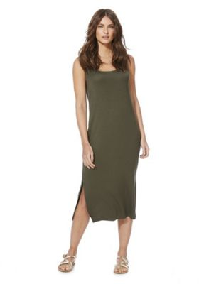 F&F Side Split Jersey Midi Dress Khaki 6