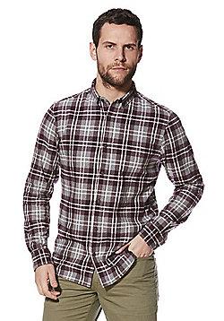 F&F Checked Long Sleeve Button Down Shirt - Grey & Purple