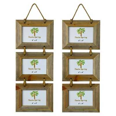 Nicola Spring Triple Wooden 3 Photo Hanging Picture Frame - 6 x 4