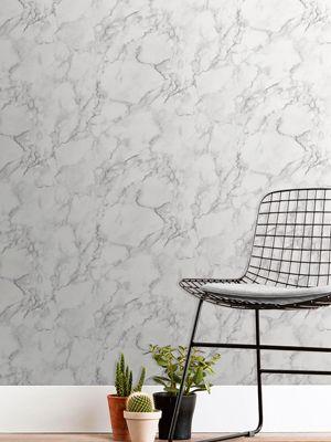 Marblesque Plain White Marble Wallpaper Fine Decor FD42274