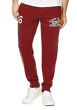 F&F Collegiate Logo Marl Joggers - Red
