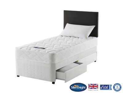 Silentnight Taplow Single Divan Bed with 2 Drawer, Miracoil Comfort