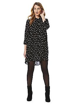 F&F Spot Print Swing Shirt Dress - Black & White