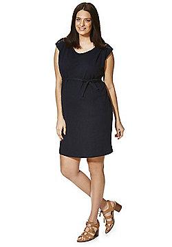 Mamalicious Lace Yoke Jersey Maternity Dress - Navy