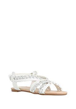 F&F Plaited Strap Sandals - White