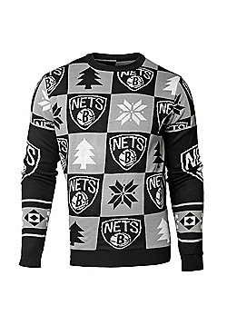 NBA Basketball Brooklyn Nets Patches Crew Neck Sweater - Grey & Black