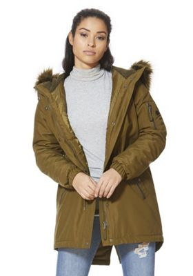 Vero Moda Faux Fur Trim Hooded Parka XS Khaki