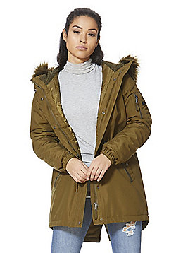 Vero Moda Faux Fur Trim Hooded Parka - Khaki