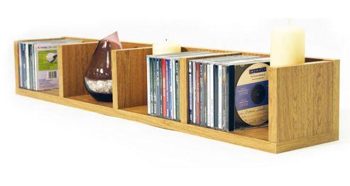 Techstyle CD / DVD / VIDEO Multimedia Wall Storage Shelf - Oak