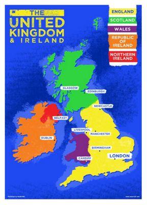 UK & Ireland Country Map Mini Poster
