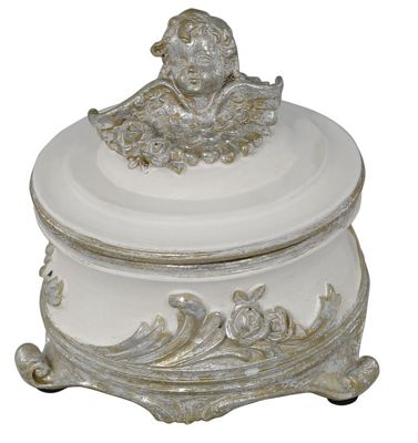 Buy Antique Silver And White Angel Trinket Box from our All Women's