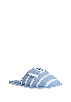 F&F Scallop Trim Slippers - Blue