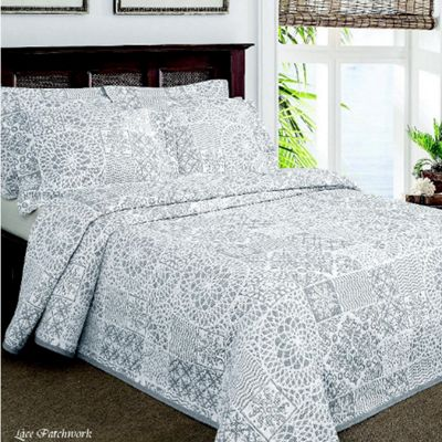 Moda De Casa Lace Patchwork Soft Touch Bedspread Double Grey
