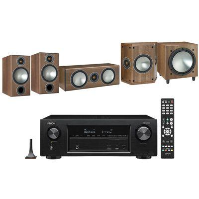 Denon AVRX1400 with Monitor Audio Bronze 2 5.1 Speaker Package (Walnut)
