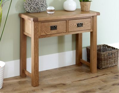 Worcester - Oak Console Table / 2 Drawer Storage Unit