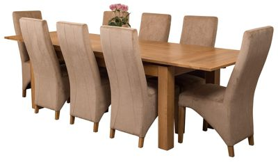 Richmond Large Extending Solid Oak Dining Set Table and 8 Beige Fabric Chairs