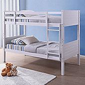 Happy Beds Bedford Wood Kids Bunk Bed with Open Coil Spring Mattress - White - 3ft Single
