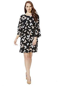 F&F Butterfly Print Bell Sleeve Dress - Multi