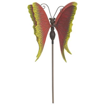 97cm Red & Yellow Metal 3D Butterfly Windmill on a Stake Garden Ornament