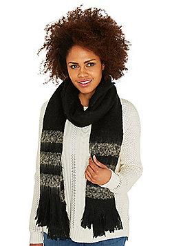 Pieces Damina Striped Long Scarf - Black