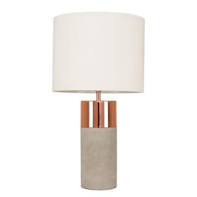 Finley Table Lamp - Cement - Copper & Cream
