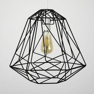 MiniSun Okko Geometric 40cm Non Electric Basket LED Shade - Black - BC B22