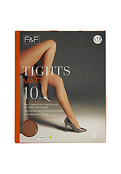 F&F 2 Pack of Matt 10 Denier Tights with Lycra® - Natural