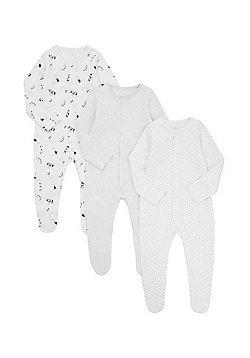 F&F 3 Pack of Printed Unisex Sleepsuits - Multi