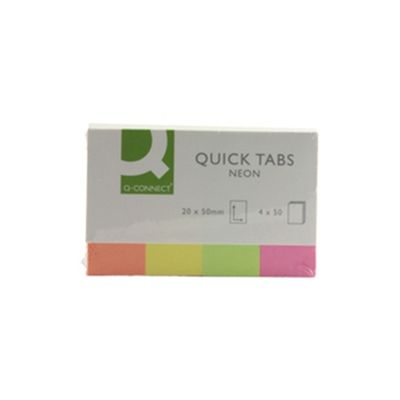 Q-Connect Quick Tabs 20x50mm Neon Pack of 4x40 KF01226