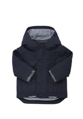 F&F Padded Shower Resistant Mac Navy 12-18 months