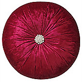 Crushed Velvet Diamante Cushion - Raspberry