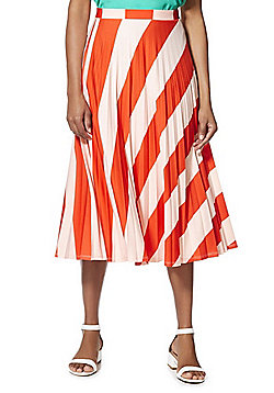 F&F Striped Pleated Midi Skirt - Orange/Pink