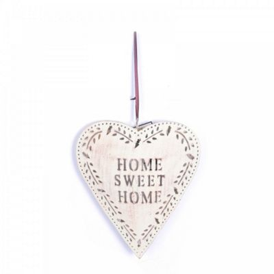 Large Rustic Finish Metal 'Home Sweet Home' Heart Decoration
