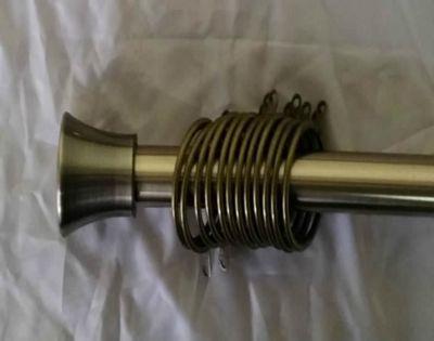 70 - 120cm Bell Finish Extendable Metal Curtain Pole - Antique Brass