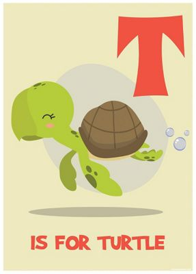 T Is For Turtle Mini Poster 32 x 44cm